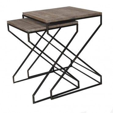 Set 2 tables d'appoint 40x40x52cm