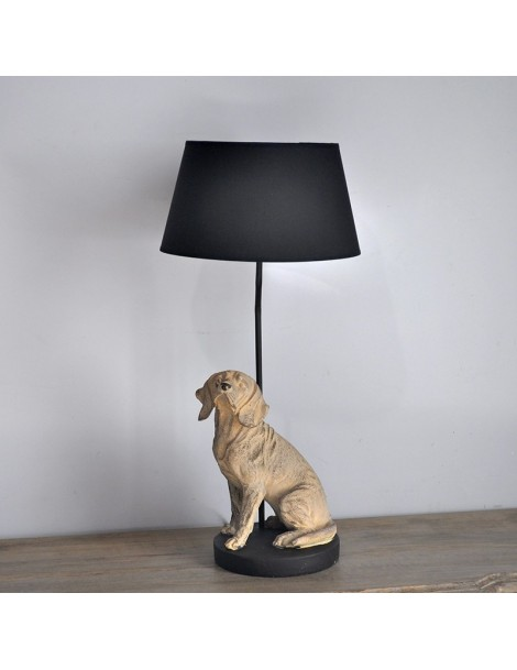 lampe et son chien r sine. Black Bedroom Furniture Sets. Home Design Ideas