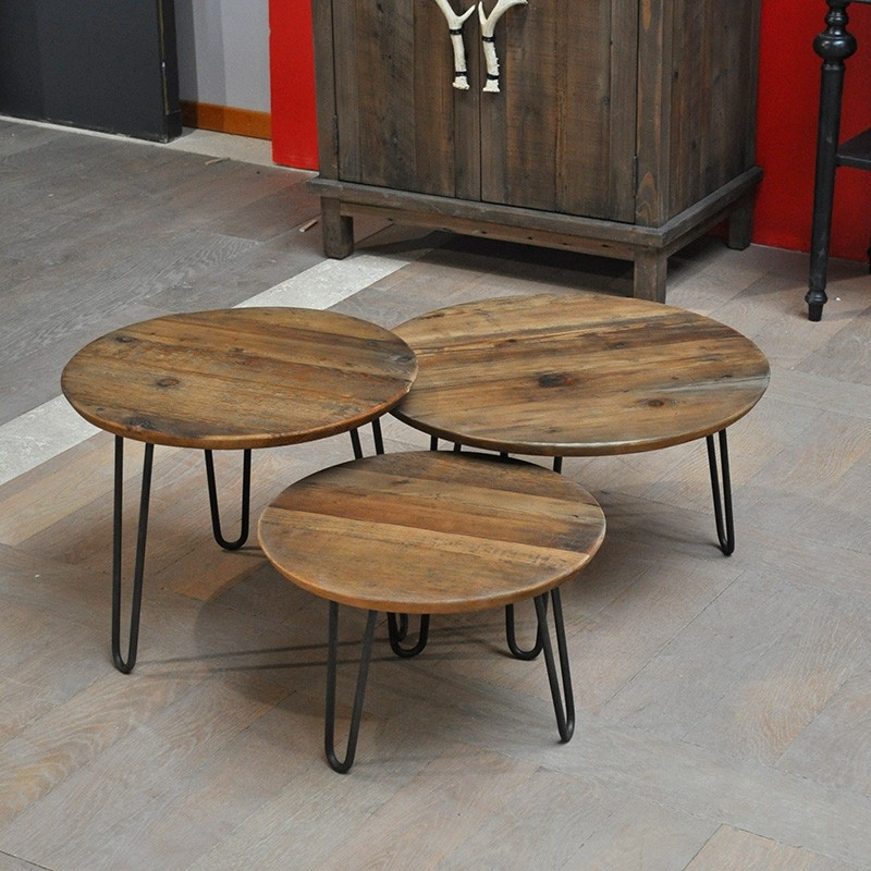 Set 3 tables gigognes industriel en ch ne et pied m tal for Table basse gigogne ronde bois