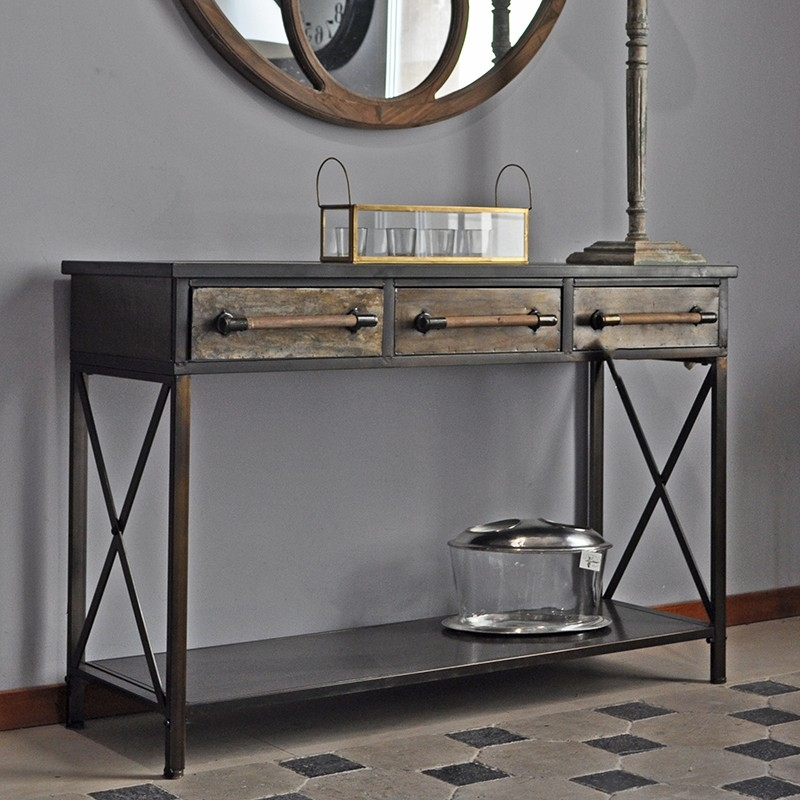 console industriel 3 tiroirs style industriel. Black Bedroom Furniture Sets. Home Design Ideas