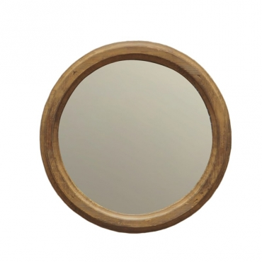 Miroir rond pin naturel