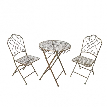 Ensemble de jardin table et chaise for Salon de jardin en fer