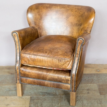 Fauteuil cuir TURNER Old School Chehoma