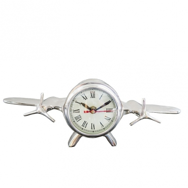 Horloge avion patiné Nickel 30x9x12 cm