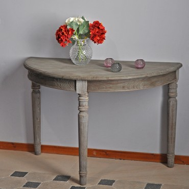 Table - Console demie-lune Pin Massif 122x61x78cm
