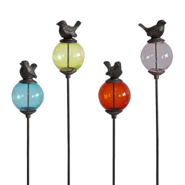 Set de 4 tuteurs boule oiseau queue haute