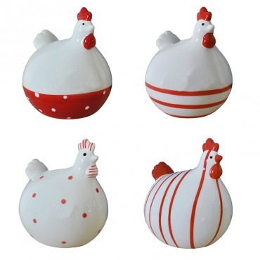 Ensemble 4 poules blanc/rouge