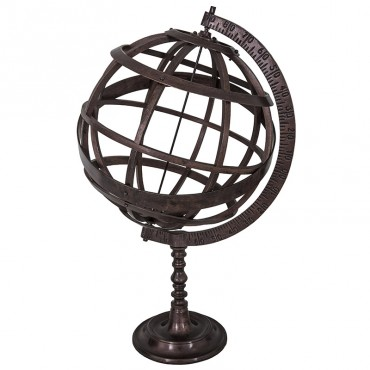 Grand globe terrestre antique 40x40x66 cm