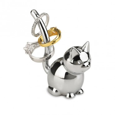 Porte bagues Zoola chat chrome 08x03x07 cm
