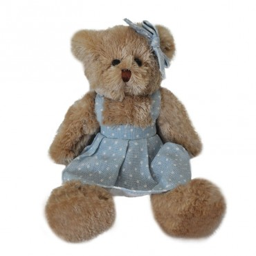 Peluche fille ours robe bleue 15x06x20 cm