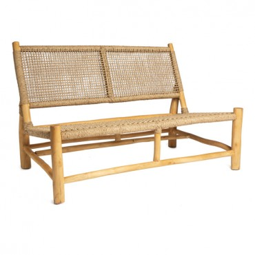 Chaise jardin 2 places rotin naturel 120x80x78 cm