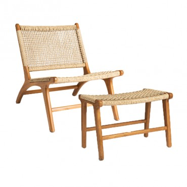 Ensemble chaise et banc teck rotin naturel Simla