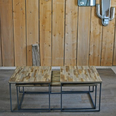 Ensemble 3 tables basses gigognes 120x55x42 cm
