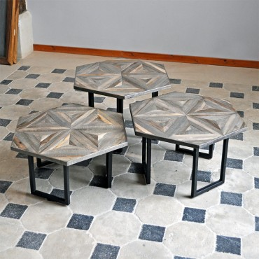 Tables basses gigognes hexagonales 62x40 cm