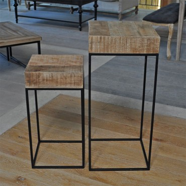 Set 2 tables d'appoint Manguier naturel Simla 35x35x75cm