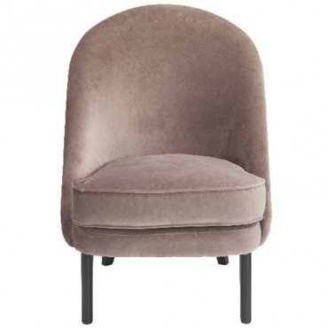 Fauteuil velours taupe 64x88x77cm