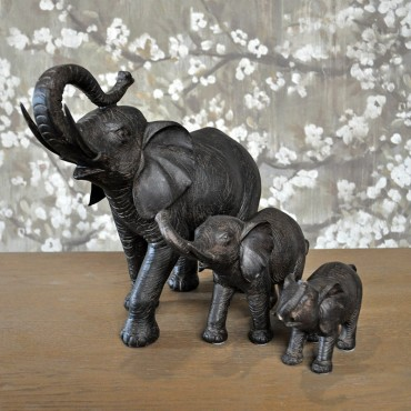Ensemble 3 éléphants marron 83x14x31cm