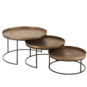 Ensemble 3 tables gigognes 77x77x40cm