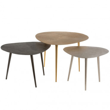 Set 3 tables gigognes métal 55x58x46cm